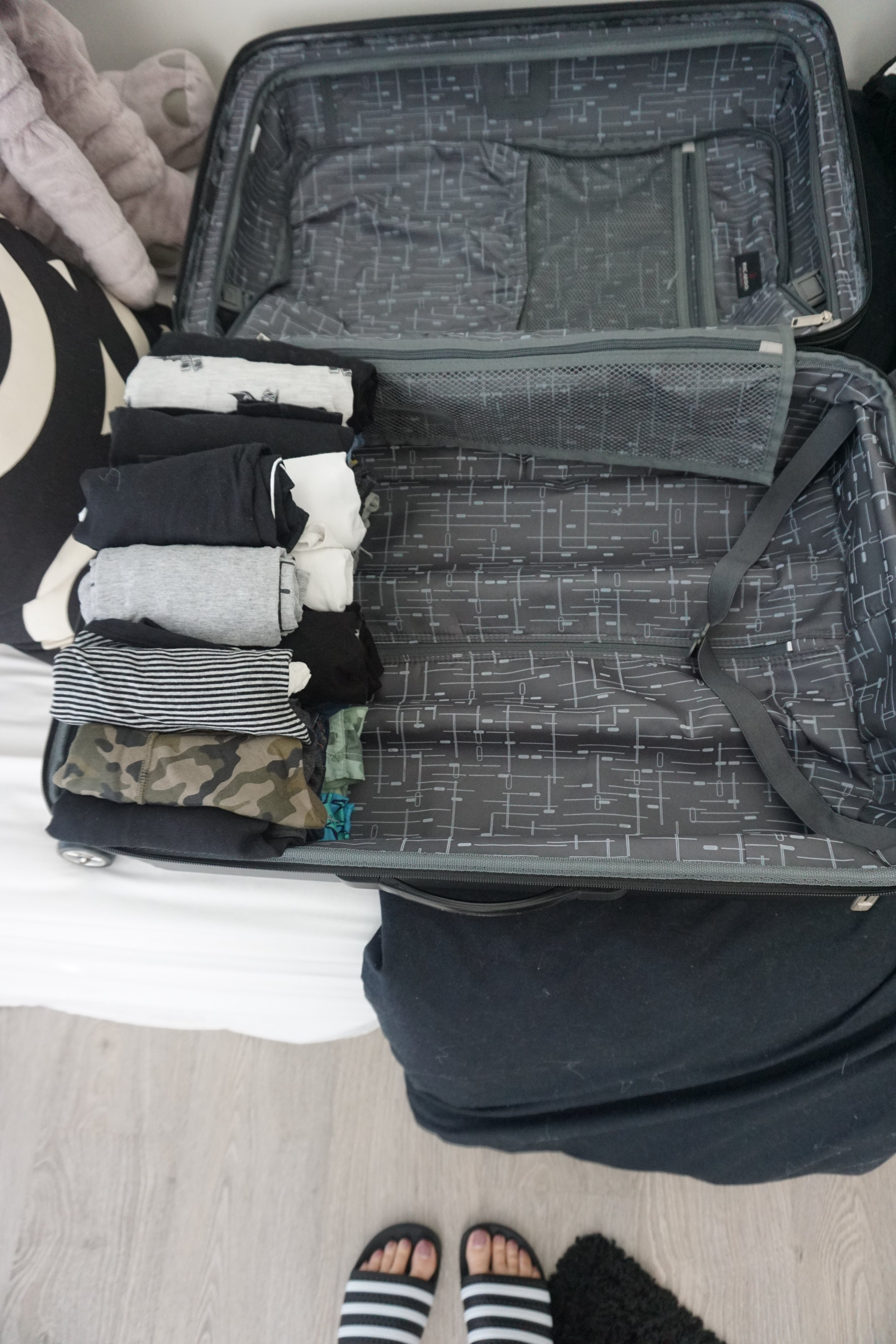 Hudson's stuff takes up 1/3 of the suit case and the rest is for me!