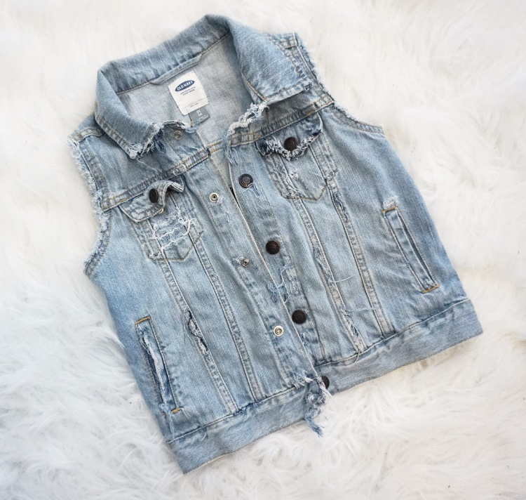 Vest was originally a dark wash denim jacket I found at Old Navy on sale for $6.99. I soaked it in bleach and water for 30 minutes and then washed and distressed it.