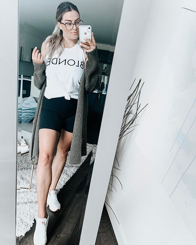 Q: How would you describe your fashion style? . Me: Glam Sloth . Glasses | @clearlyca Kam Dhillon Brinkley in White Tortoise . Tank | @brunettethelabel . Shorts | @aritzia . Sneakers | @reebokcanada . Cardigan | @hm