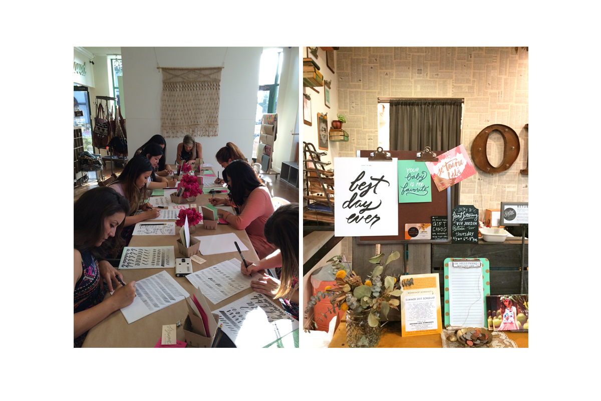 Students getting their lettering on | Fun showcase of paper goodies to encourage sign-ups