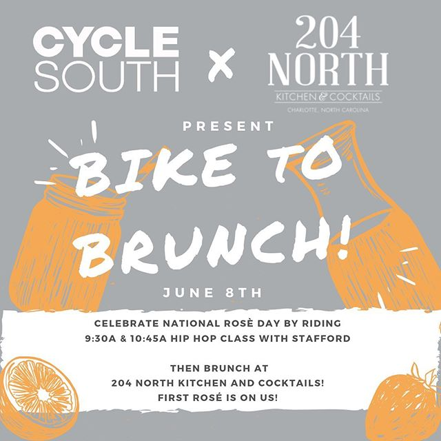 NEXT WEEKEND we are teaming up with 204 North Kitchen to celebrate National Rosé Day 🍾🚲🎶⁣⁣⁣ ⁣⁣⁣ Who better to help celebrate this Bike to Brunch than with the one and only Stafford!⁣⁣⁣ ⁣⁣⁣ He'll be teaching back to back so save a drink for him 💁🏽⁣⁣ ⁣⁣⁣ Grab a friend, book your bikes ASAP and we will see you there #cyclesouthfam 🎉🥂