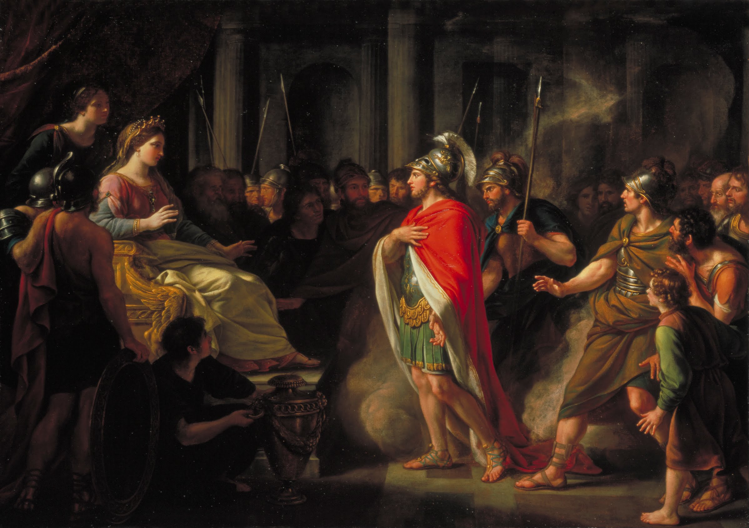 Aeneas is welcome by Dido, the Phoenician Queen of Carthage