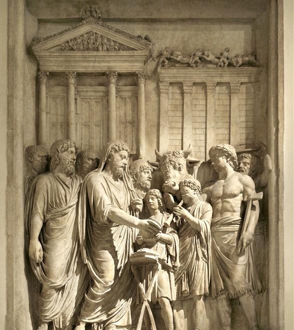 Marcus Aurelius (161-180 AD) sacrifices in front Temple of Jupiter Optimus Maximus on the Capitoline Hill