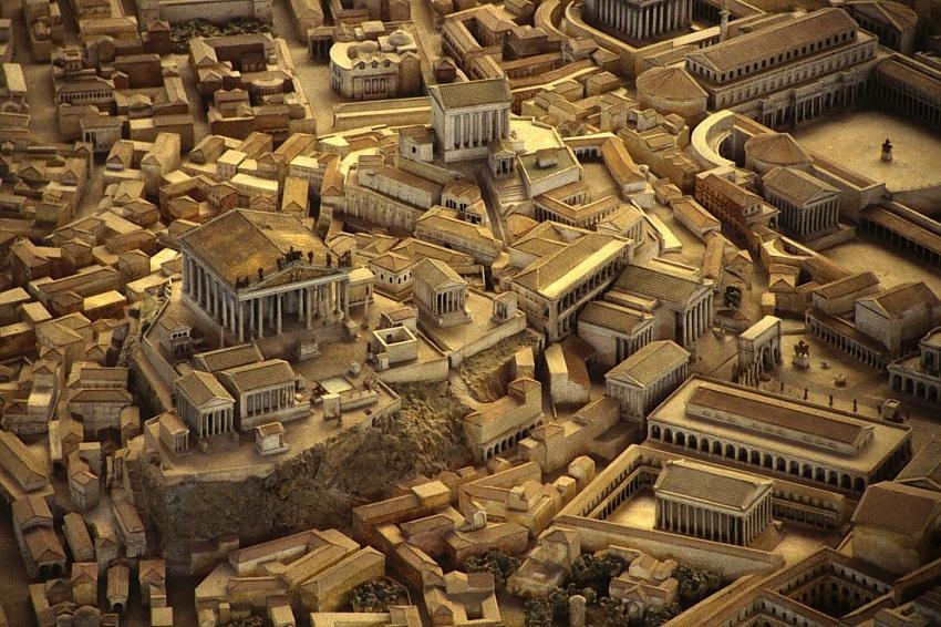 Capitoline Hill: Temple of Jupiter Optimus Maximus, the asylum and the Arx with temple of Juno Moneta.