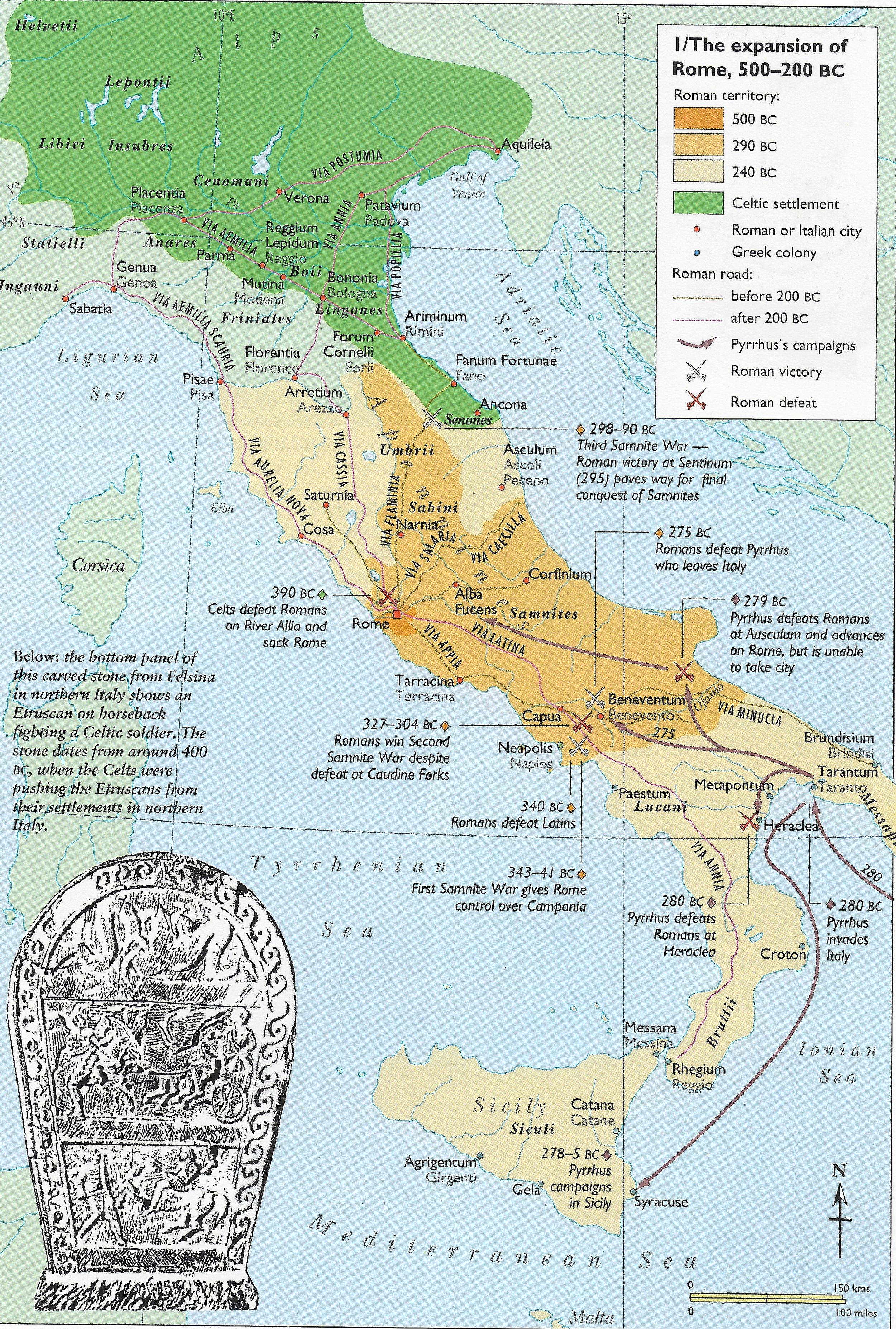Latin II 2016-7 Map of Italy Italian Peninsula down to 200 BC conquest.jpeg