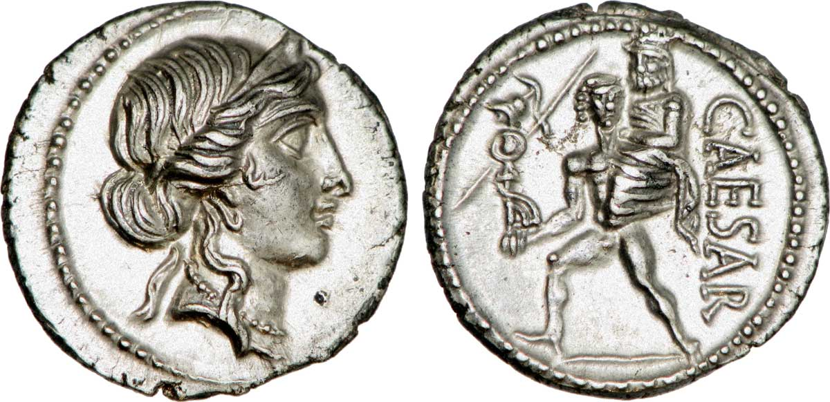 Coin of Caesar with Venus, Aeneas and Anchises