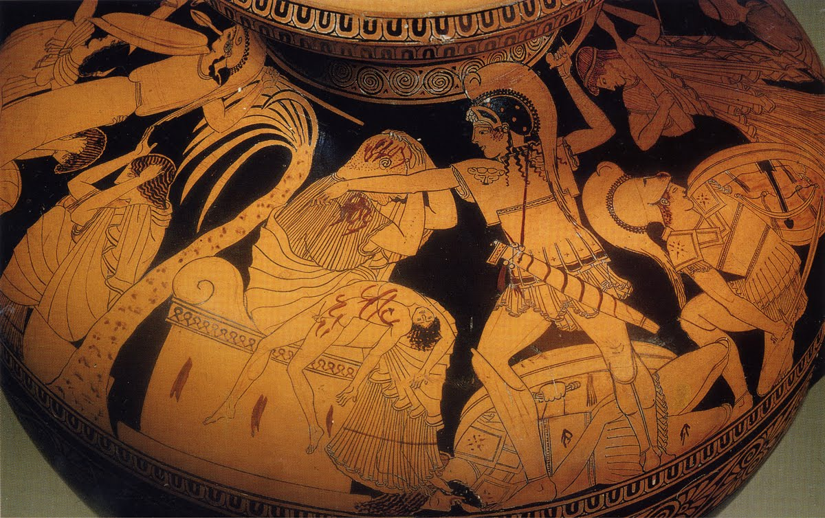 The Climax of the   Ilioupersis   (destruction of Tory/Ilium). Here King Priam is slaughtered on the altar by the son of Achilles, Pyrrhus and the Trojan women take refuge in the sanctuary of Minerva/Athena (left).