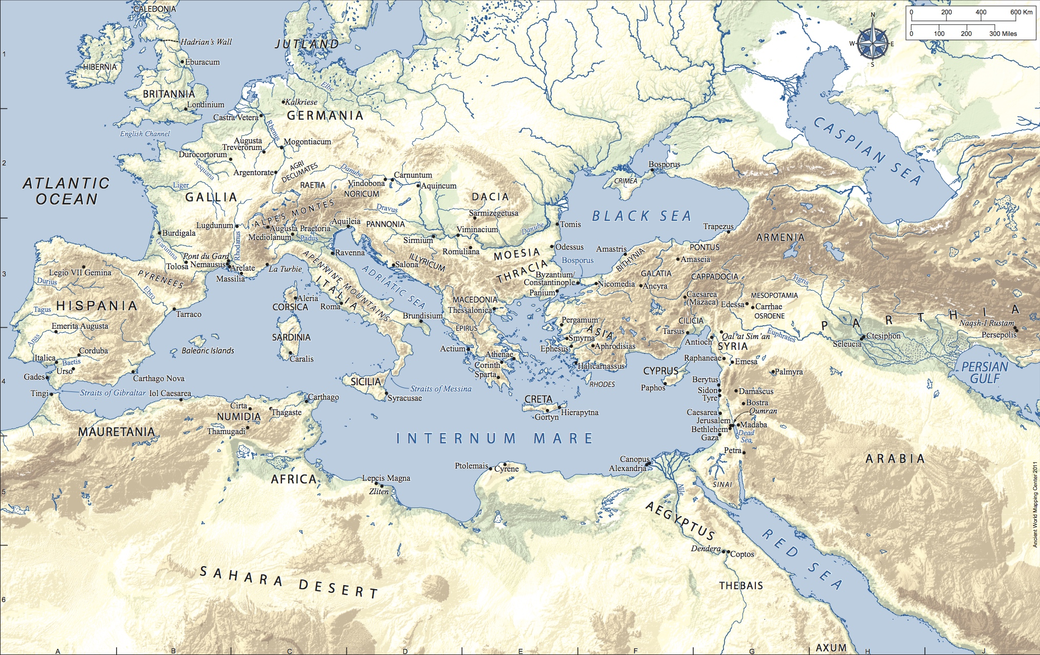 Map of Roman Empire In Latin Topography in Color.jpg