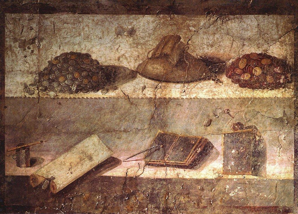 Roman writing utensils and money fresco .jpg