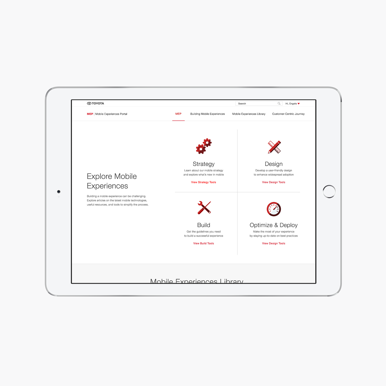 Explore - Provided documentation depending on the stage of the mobile experience development.