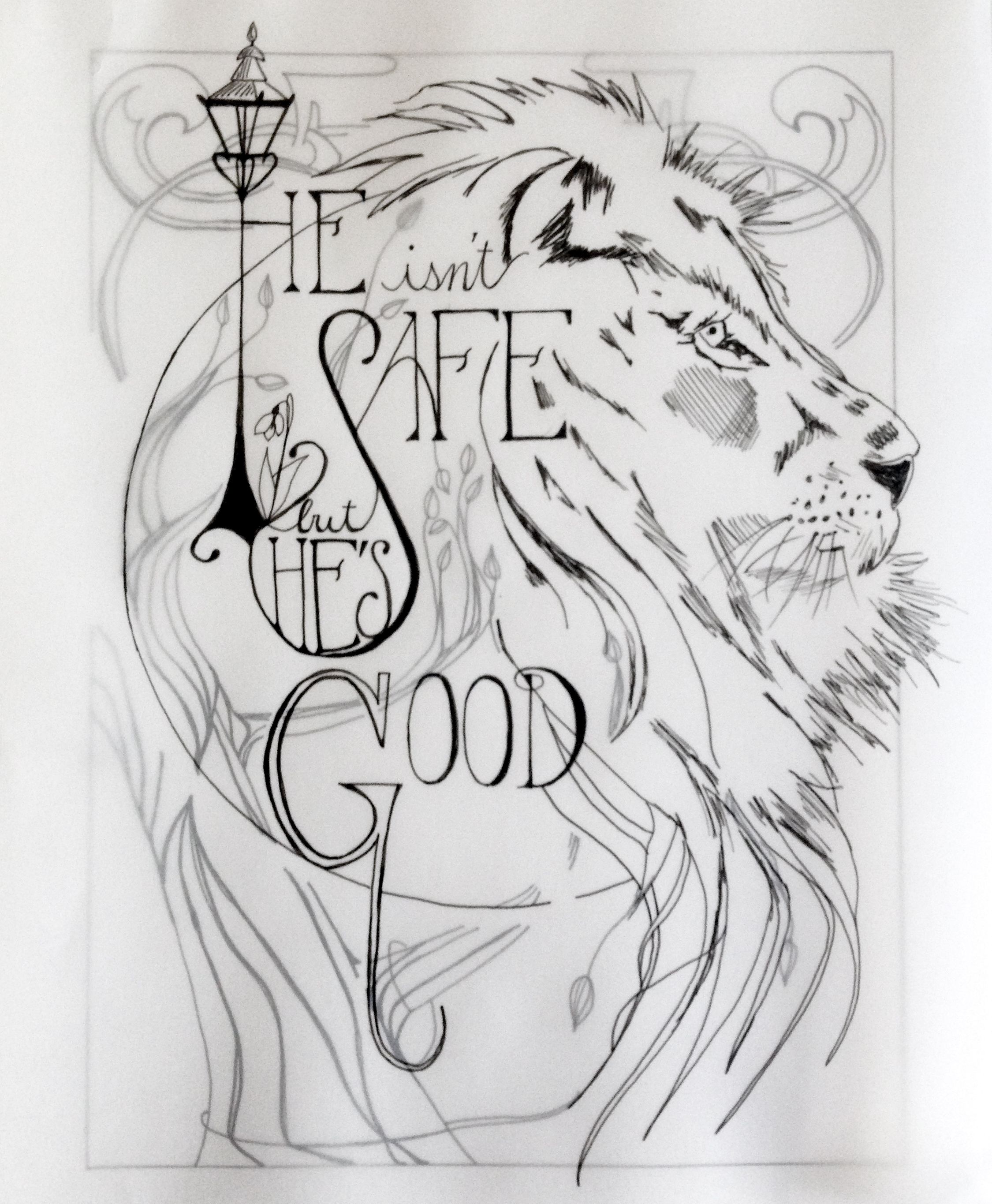 narnia lion final sketch drawing