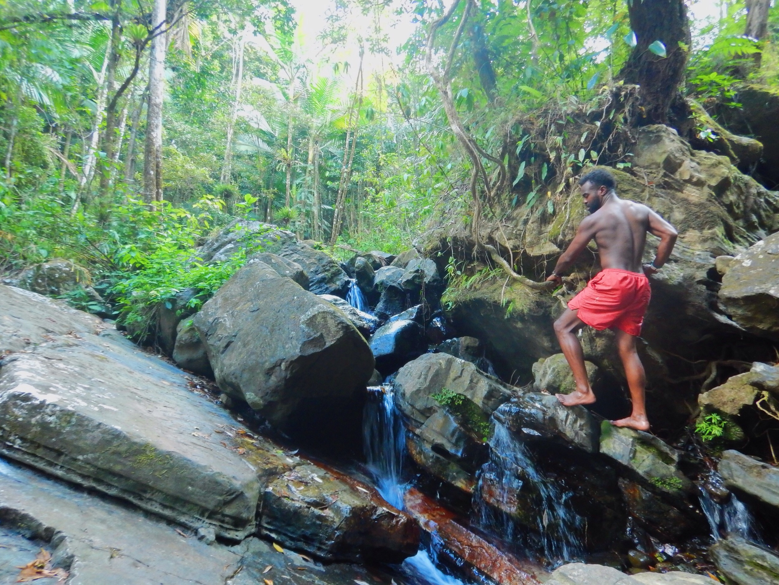 Climbing beautiful rocks in the El Yunque rainforest as the fresh water rushes over my feet.