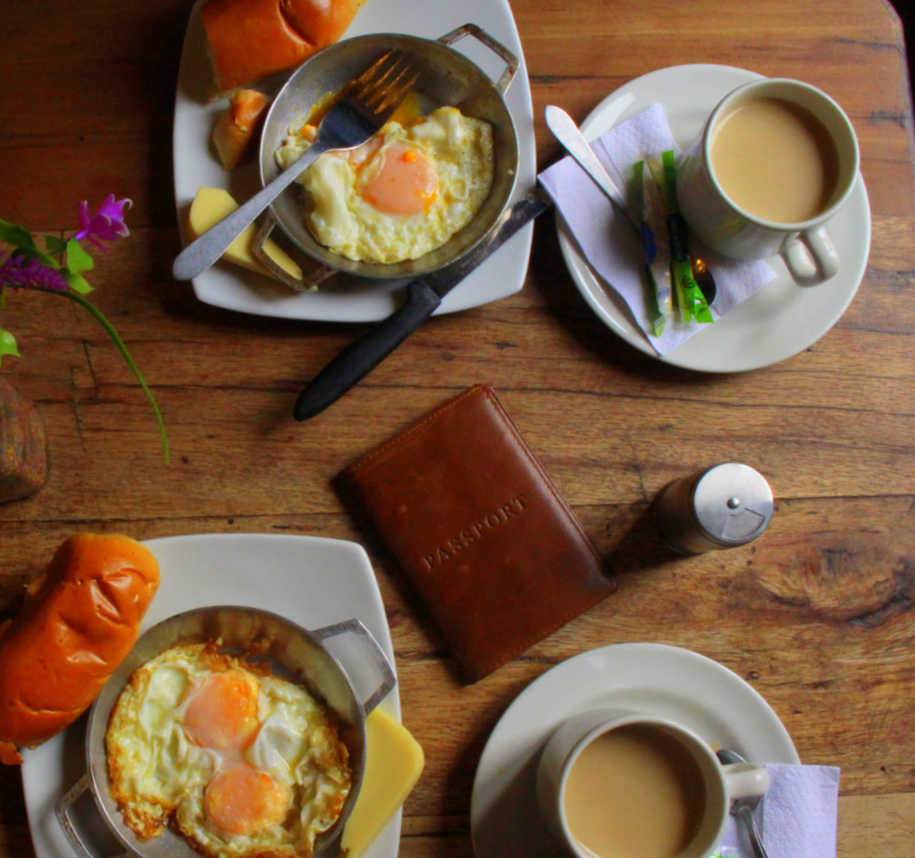 Eggs, cheese and coffee are common items served for breakfast in Colombia.