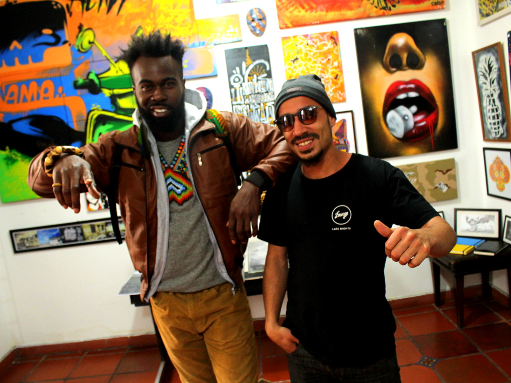 Hanging with the owner and curator of  Bogotá Graffiti Tour inside his shop.