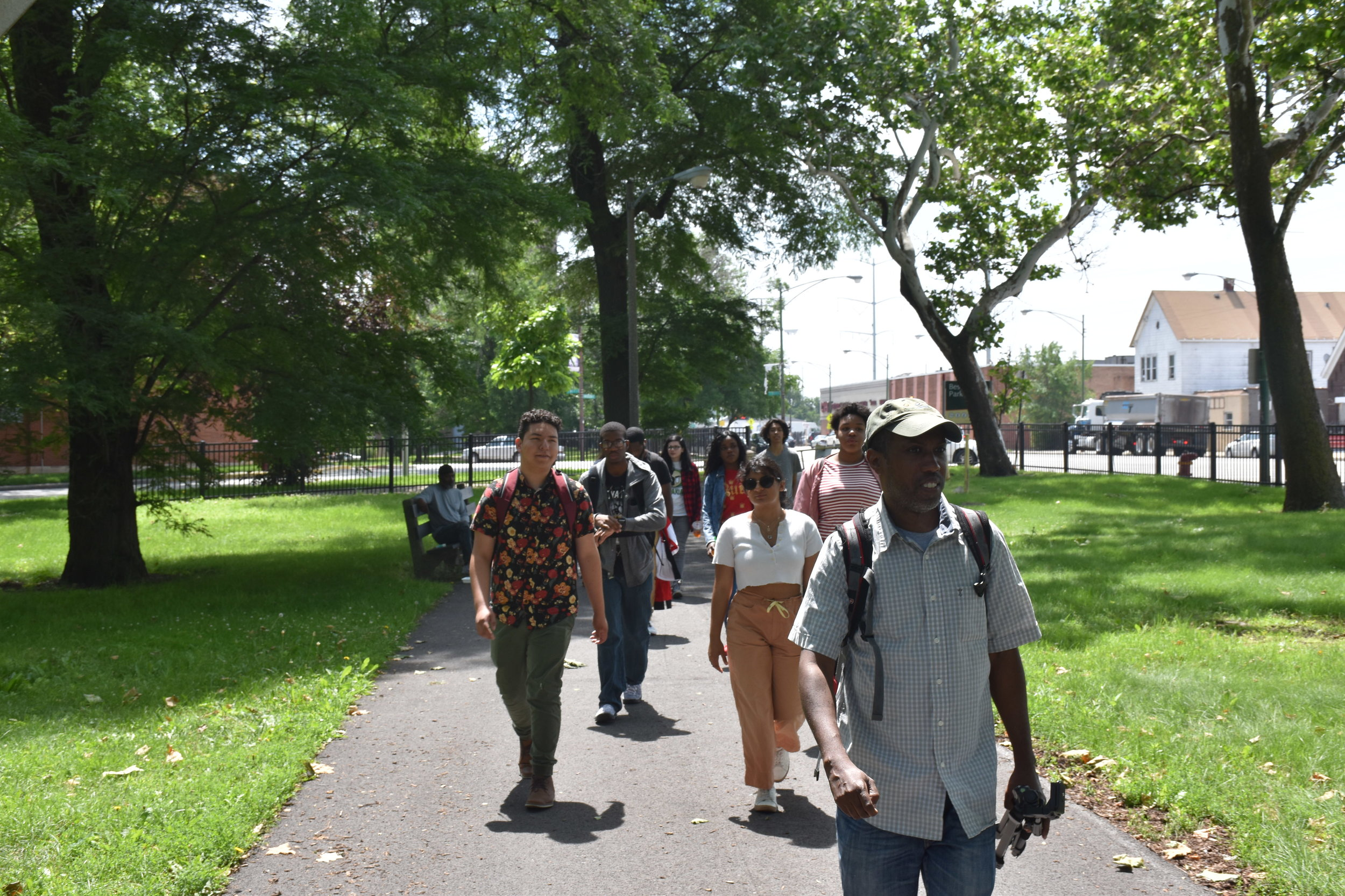 "Norman Long leading a ""soundwalk"" through Bessemer Park"