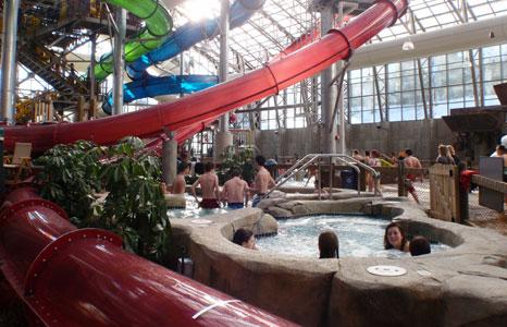 Hot tub area at Jay Peak Resort in Jay, VT