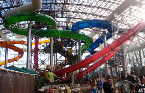 Inside view looking up to the water slides at Jay Peak Resort in Jay, VT