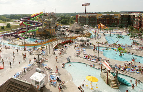 Outdoor view of the outdoor water park at the Kalahari Resort in Lake Delton, WI