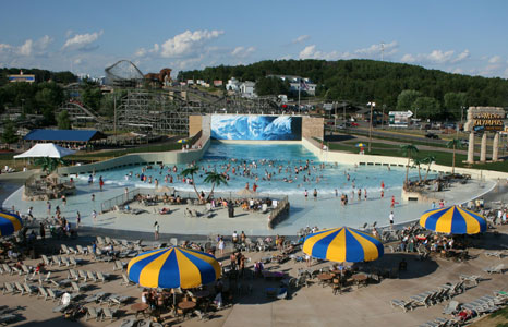 Zoomed out view of Poseidon's Rage wave pool at Mt. Olympus Water & Theme Resort in Wisconsin Dells, WI
