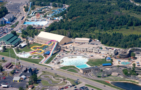 Aerial view of Mt. Olympus Water & Theme Resort in Wisconsin Dells, WI