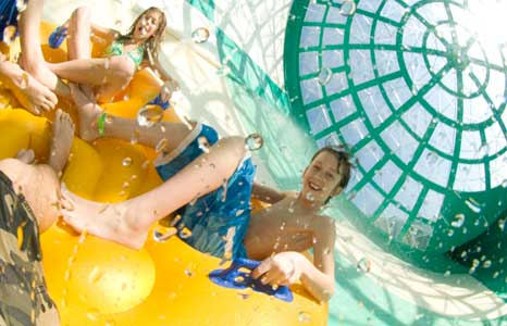 People going down a tube slide at Wilderness Resort in Wisconsin Dells, WI