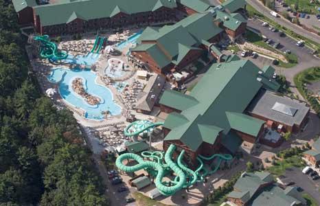 Aerial outdoor view of Wilderness Resort in Wisconsin Dells, WI