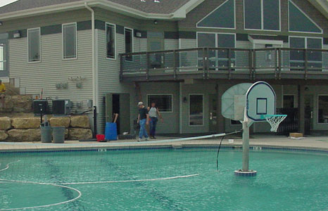 Basketball and volleyball area in the pool at Meadow Brook in Waunakee, WI