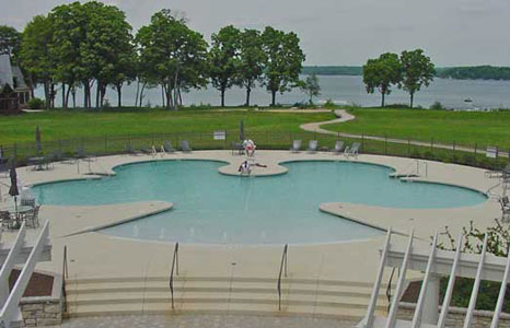 Wide view of the pool area at South Shore Club in Lake Geneva, WI