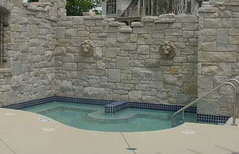 Whirlpool area with wall on the back side at South Shore Club in Lake Geneva, WI