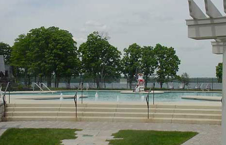 View of the pool area at South Shore Club in Lake Geneva, WI