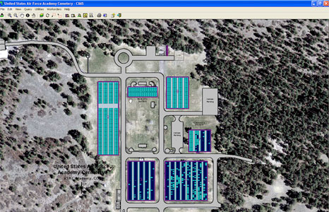 Screenshot of United States Air Force Academy Cemetery in Colorado using CIMS