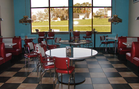 Inside seating area at All Stop Plaza in Lodi, WI