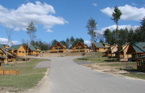 Outside view of cabins at Cranberry Lake Village in Warrens, WI