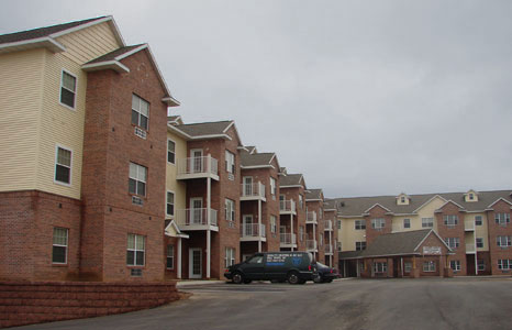 Outside view of Manchester Place Senior Housing Development in Portage, WI