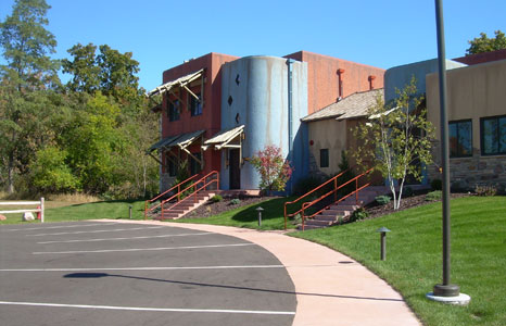 Road with Ny-Um-Ba Condominiums at the Kalahari Resort in Lake Delton, WI
