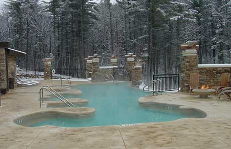 Outdoor pool in the winter time at Sundara Inn & Spa in Lake Delton, WI