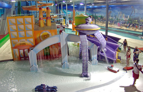 Water play structure at Action City/Metropolis Resort & Choas Waterpark in Eau Claire, WI