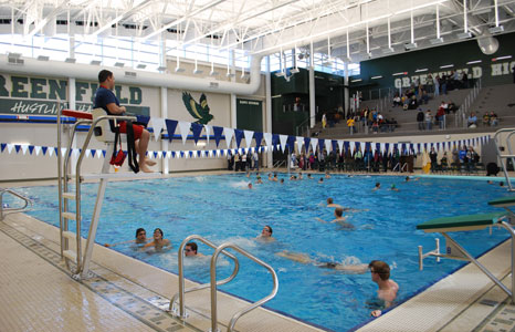 Indoor pool area with life guard stand at Greenfield High School in Greenfield, WI