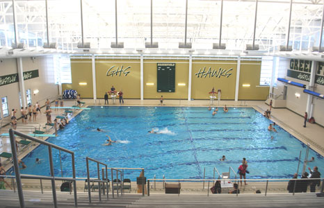 Wide view of indoor pool area at Greenfield High School in Greenfield, WI