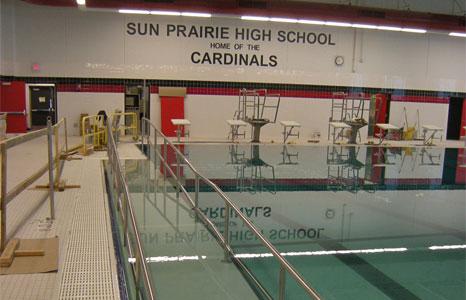 8 lane competition pool at Sun Prairie High School in Sun Prairie, WI