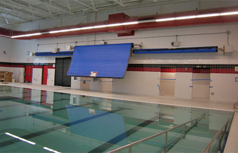 8 lane competition pool with thermal blanket cover at Sun Prairie High School in Sun Prairie, WI