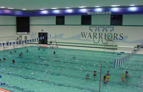 Busy pool area at Waunakee High School in Waunakee, WI