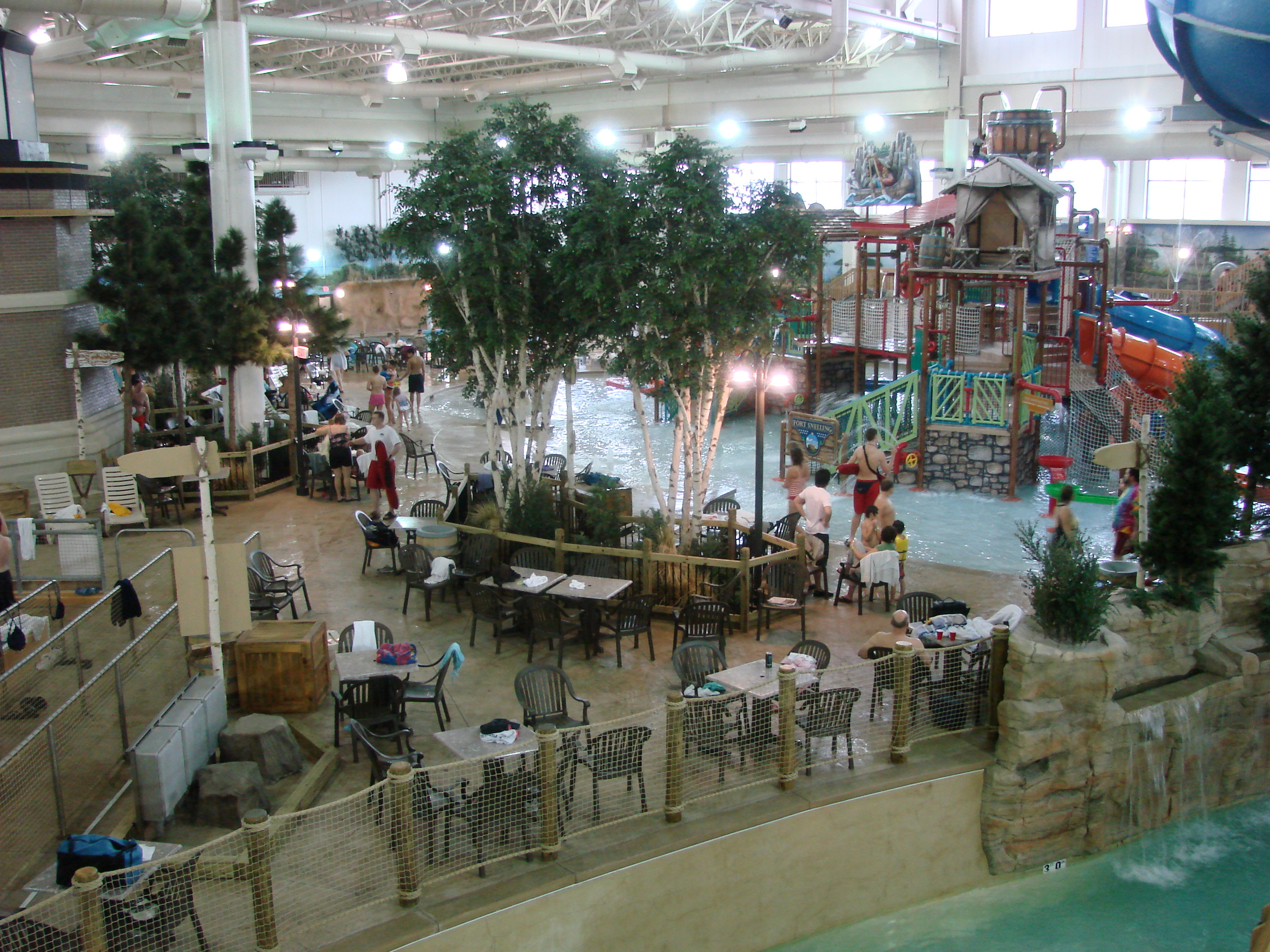 Zoomed out view of the indoor water park at Waterpark of America in Bloomington, MN
