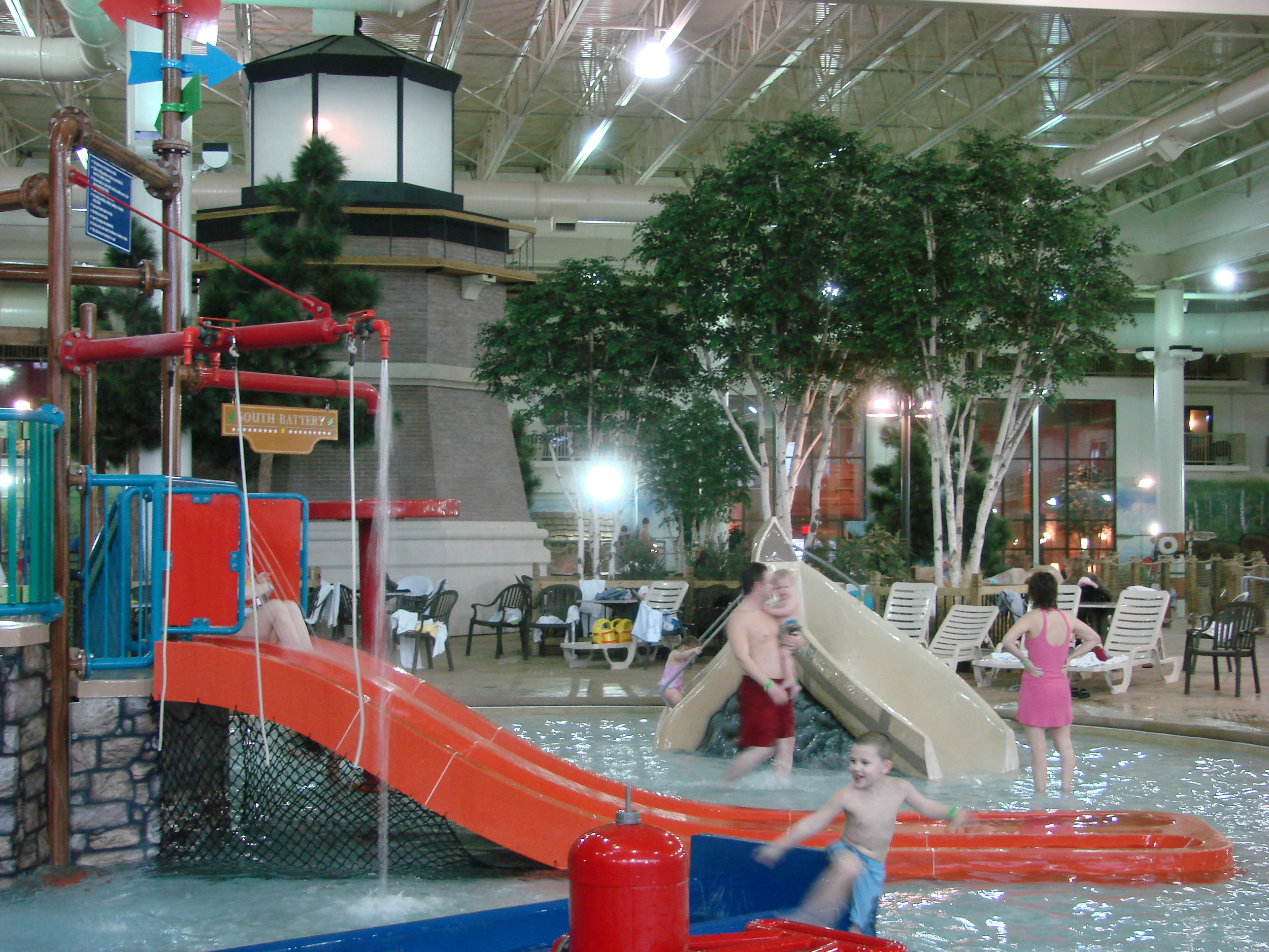 One of the indoor slides at water play structure at Waterpark of America in Bloomington, MN