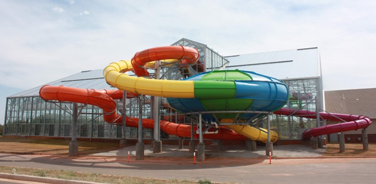Water slides at go outside view at Water-Zoo in Clinton, OK