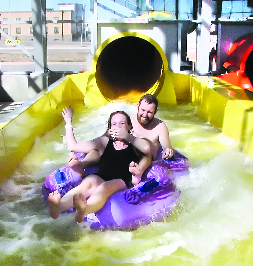 People going down a tube slide at Water-Zoo in Clinton, OK