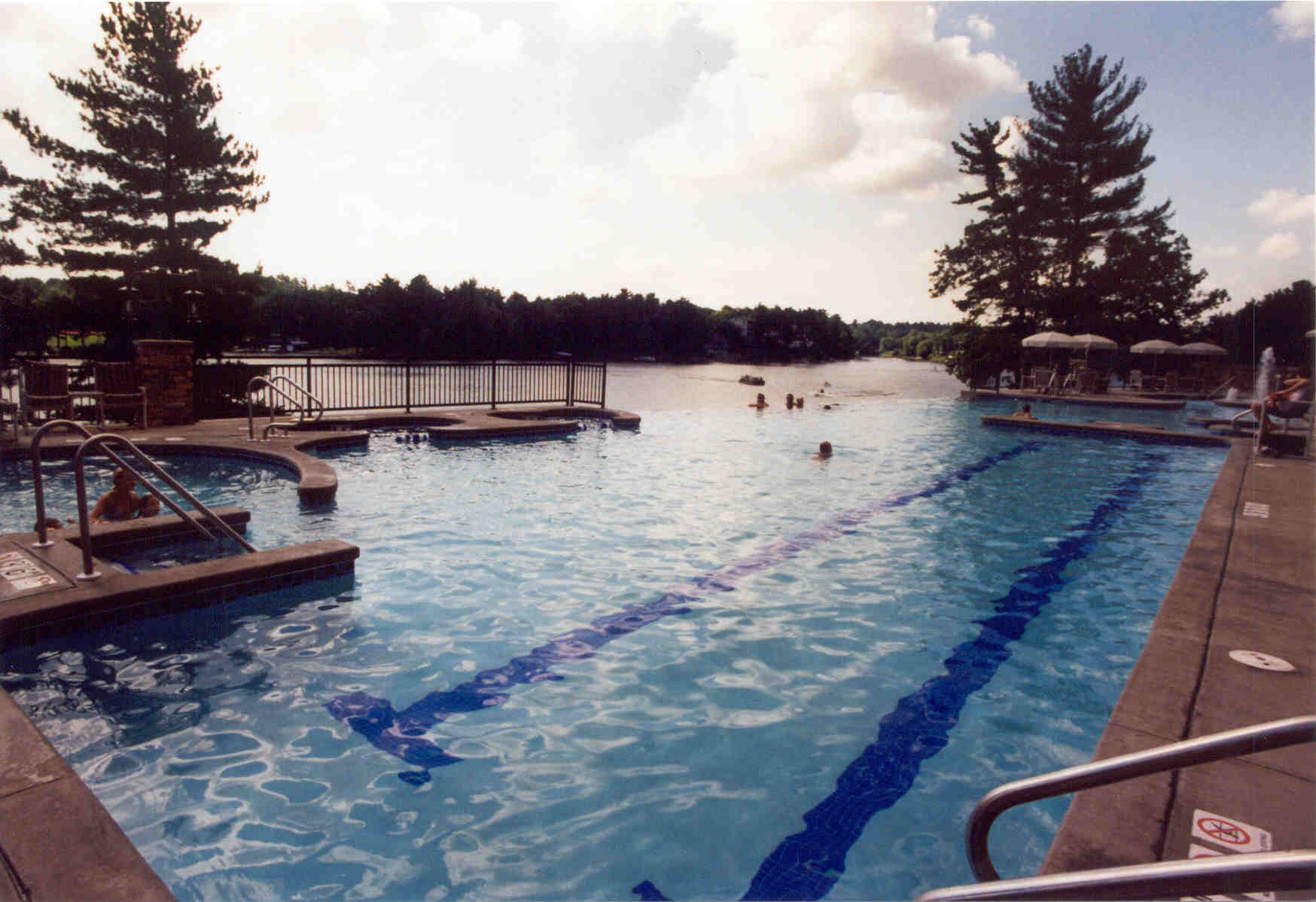 Outdoor lap pool area at the Wilderness on the Lake in Lake Delton, WI