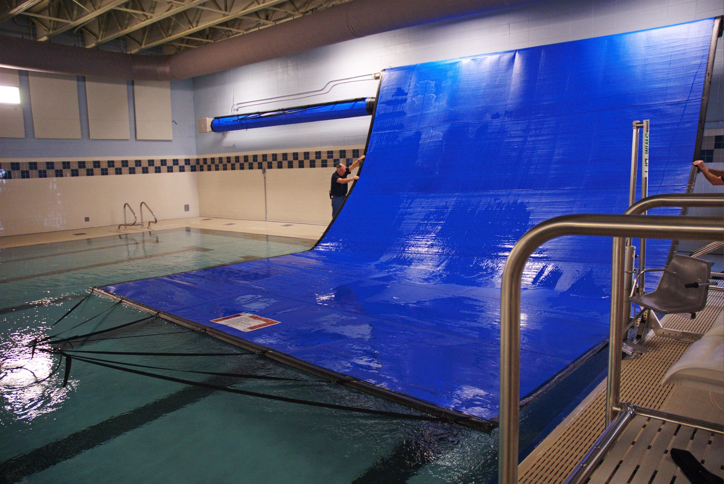 Automatic thermal pool cover at Poynette High School in Poynette, WI
