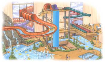 Colored drawing of a water park plan