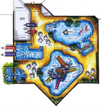 Aerial view of a drawing of a water park plan